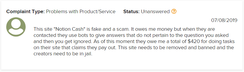 Notion Cash BBB Scam Complaint 2