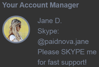 PaidNova.com Fake Account Manager Jane D.