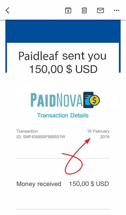 PaidNova.com Fake Payment Proof 1