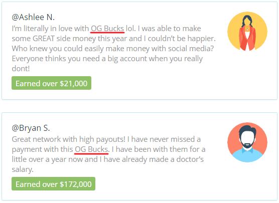 OGBucks.com Fake Testimonials 1