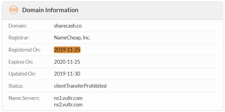 ShareCash.co Domain Name Registration Date
