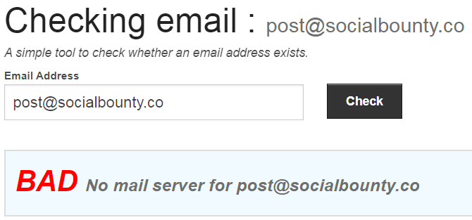 SocialBounty.co Fake Email Address