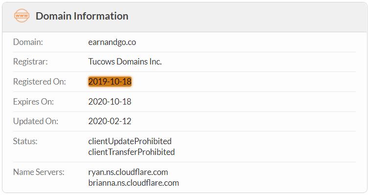 EarnAndGo.co Domain Name Registration Date