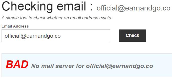 EarnAndGo.co Fake Email Address 1