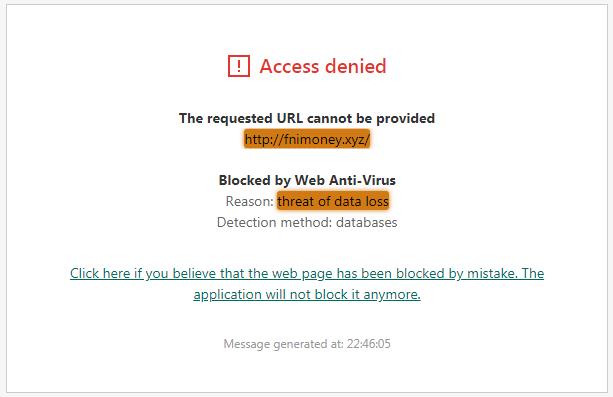 FniMoney.xyz Threat of Data Loss Antivirus Alert