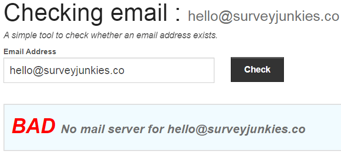 SurveyJunkies.co Fake Email Address