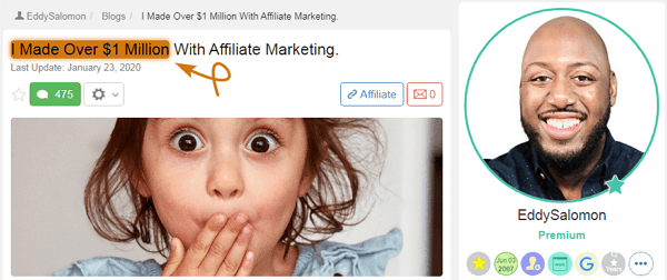 Wealthy Affiliate Success Story Eddy