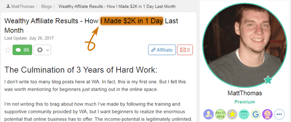 Wealthy Affiliate Success Story Matt