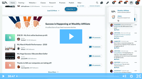 Wealthy Affiliate Walkthrough Video