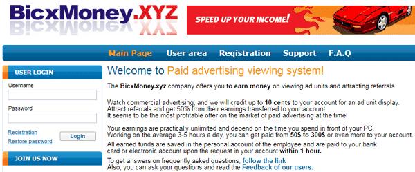BicxMoney.xyz Identical Scam
