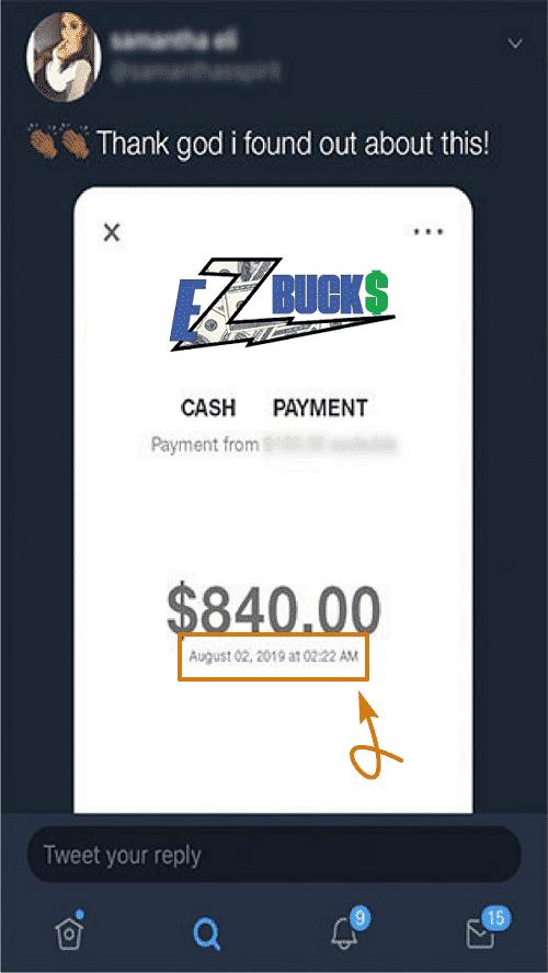 EZBucks.co Fake Payment Proof 1