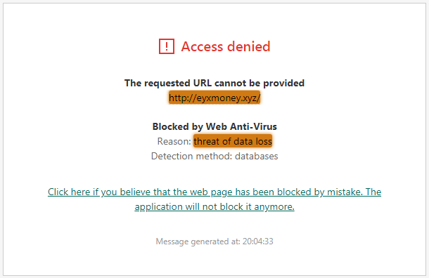 EyxMoney.xyz Antivirus Alert