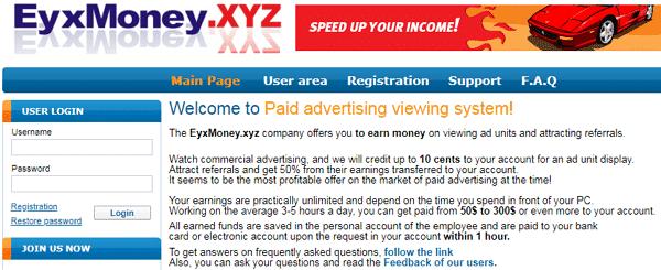 EyxMoney.xyz Identical Scam