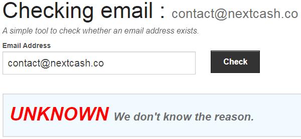 NextCash.co Fake Email Address