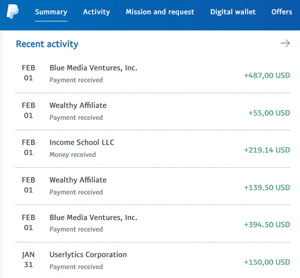 PayPal Recent Activity Earnings Proof