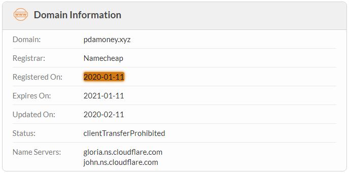 PdaMoney.xyz Domain Name Registration Date