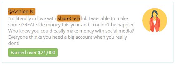 ShareCash.co Fake Testimonial 1
