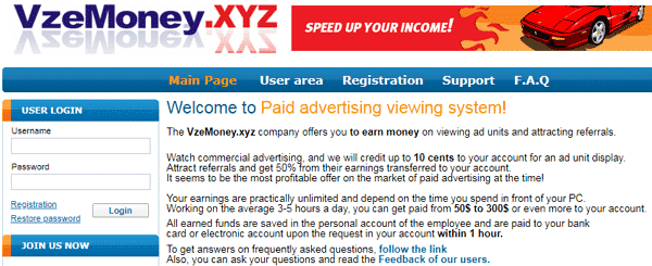 VzeMoney.xyz Identical Scam