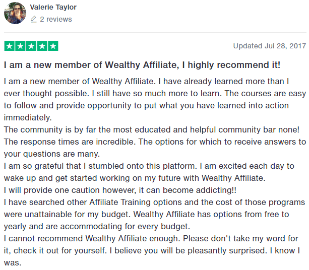 Wealthy Affiliate TrustPilot Testimonial 3