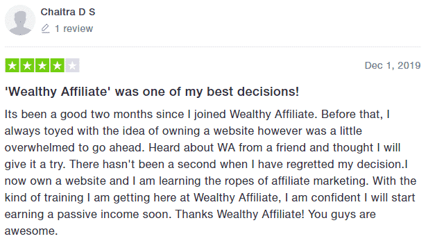 Wealthy Affiliate TrustPilot Testimonial 6