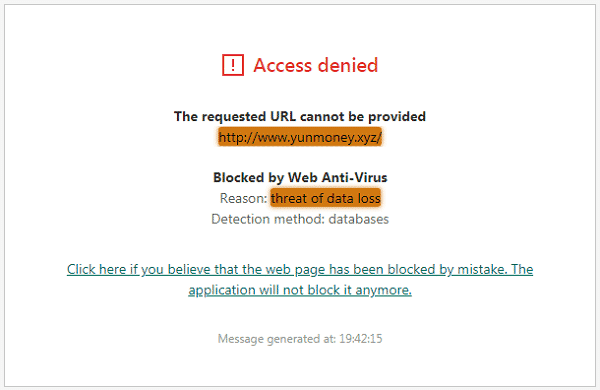 YunMoney.xyz Antivirus Alert