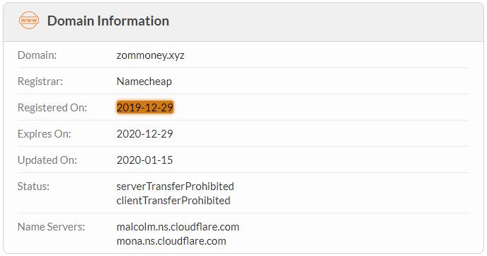 ZomMoney.xyz Domain Name Registration Date