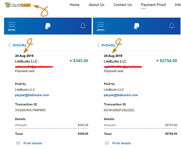 NextCash.co Fake Payment Proofs 1