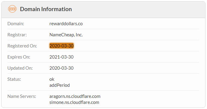 RewardDollars.co Domain Name Registration Date