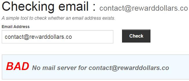 RewardDollars.co Fake Email Address