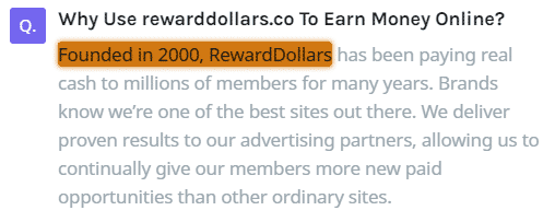 RewardDollars.co Fake Founding Date