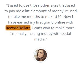 RewardDollars.co Fake Testimonial 2