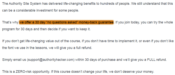 The Authority Site System 30-Day Money-Back Guarantee