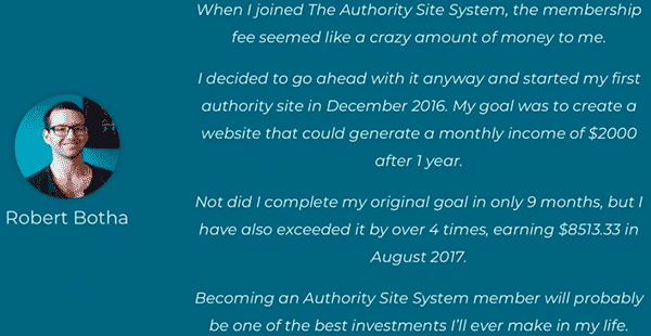 The Authority Site System Testimonial 4