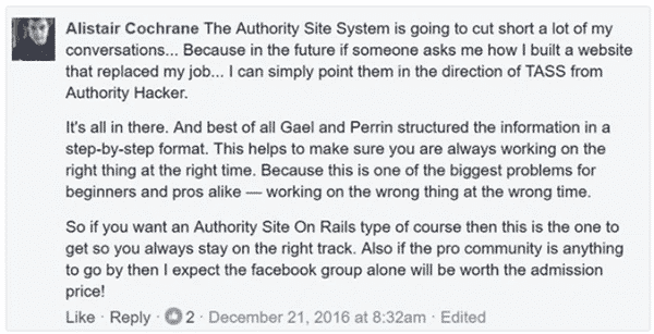The Authority Site System Testimonial 5