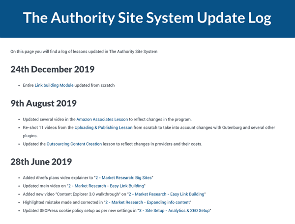 The Authority Site System Update Log