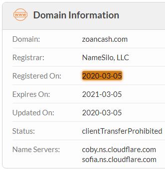 ZoanCash.com Domain Name Registration Date