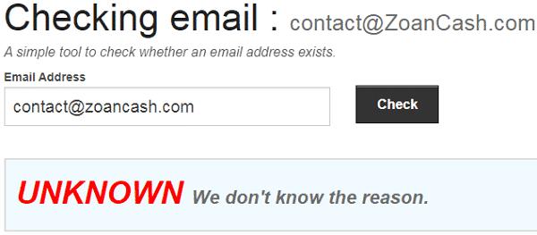 ZoanCash.com Fake Email Address