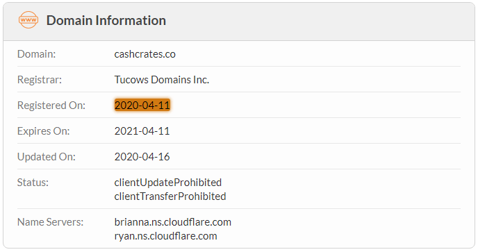 CashCrates.co Domain Name Registration Date