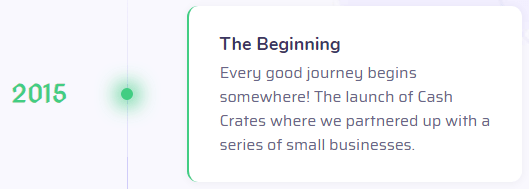 CashCrates.co Fake Founding Date