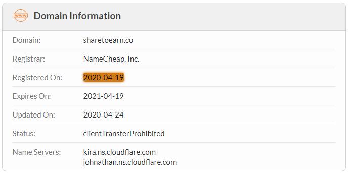 ShareToEarn.co Domain Name Registration Date