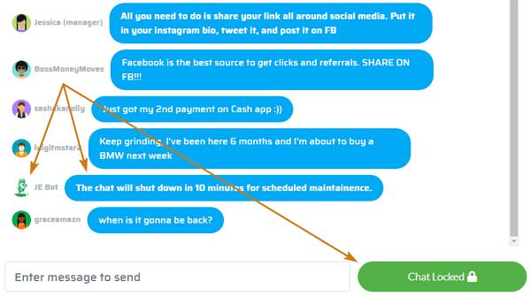 ShareToEarn.co Fake Live Chat