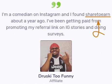ShareToEarn.co Fake Testimonial 1