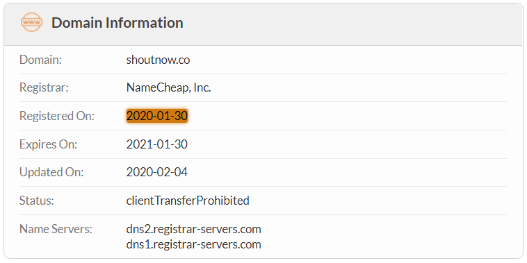 ShoutNow.co Domain Name Registration Date