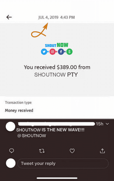 ShoutNow.co Fake Payment Proof 2