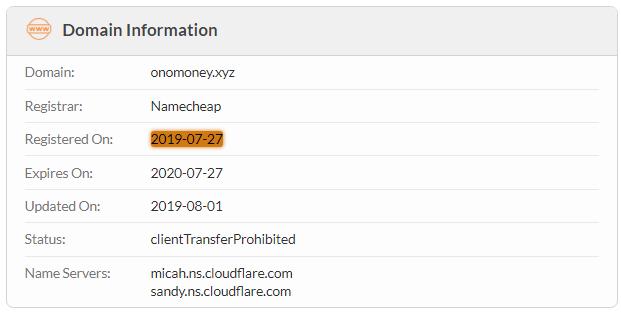 OnoMoney.xyz Domain Name Registration Date
