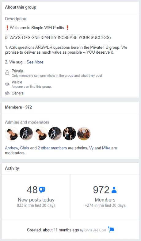 Simple Wifi Profits Facebook Group