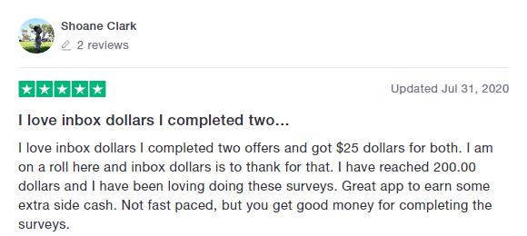 InboxDollars Trustpilot Review 4