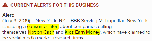BBB KidsEarnMoney And Notion Cash Consumer Alert Warning