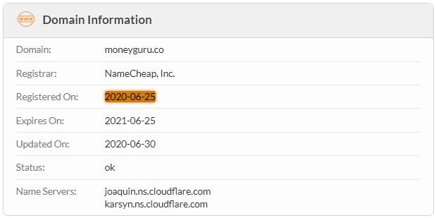 MoneyGuru.co Domain Name Registration Date