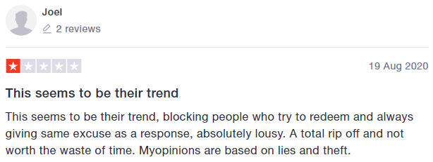 MyOpinions Trustpilot Review 5
